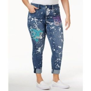 Melissa McCarthy Rose Stenciled Skinny Jeans 20W